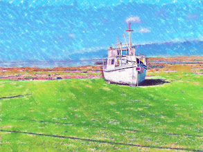 Photo: Abandoned boat on Isle De' Coudre...pastel effect