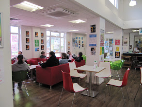 Photo: Eating and student hangout area, student union, St. John's Campus, University of Worcester