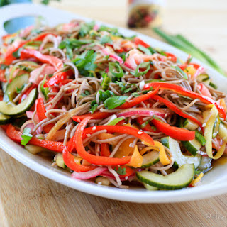 Cold Soba Noodle and Pickled Vegetable Salad with Teriyaki Dressing