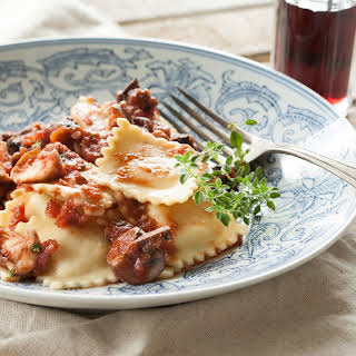 Cheese Ravioli with Lamb Mushroom Ragu.