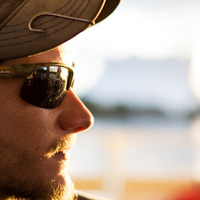 Ferried to Sunset by James Newberry - People Portraits of Men ( outdoor; portrait; natural light; sunset; reflection )