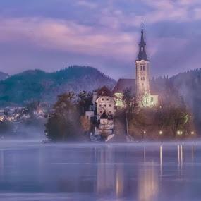 Bled island by Stane Gortnar - Buildings & Architecture Public & Historical ( mountains, church, fog, slovenia, bled, lake, historical, light, island )