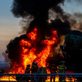Train Fire 2 by Colin Toone - Abstract Fire & Fireworks ( explosion, liquid, firefighter, fire, water, train )