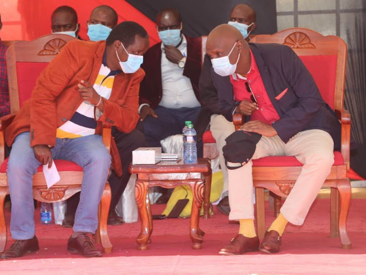 Elgeyo Marakwet Governor Alex Tolgos and Kanu boss Gideon Moi and in Iten town on December 5, 2020.