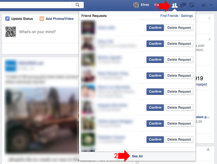 how to check whos ignoring your friend request on Facebook step 1
