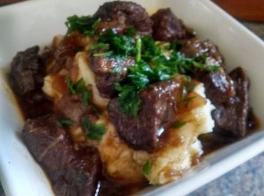 Red Wine And Demi Glace Roast Beef Over Potatoes Recipe