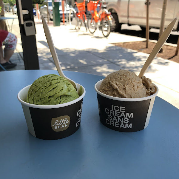 Coffee and mint matcha chickpea dairy free ice cream