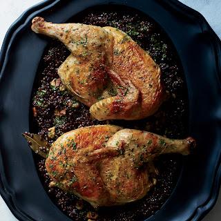 Cast-Iron Roast Chicken with Lentils and Walnut Vinaigrette