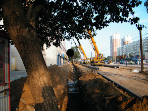 Photo: road expanding in QRRS area, eastern Qiqihar. gas pipe landing also in progress. most old trees alone the road devasted.