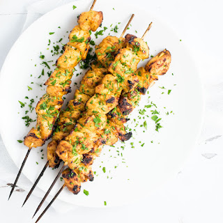 Grilled Mango Curry Chicken Skewers.