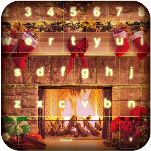 Fireplace Photo Keyboard Theme
