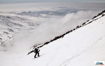 Photo: Katka climbing on skis