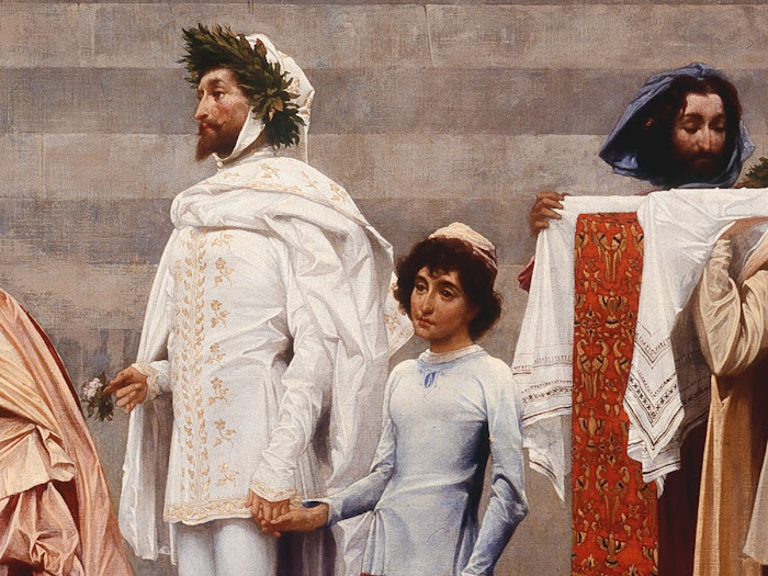 Frederic Leighton, Cimabue's Celebrated Madonna (detail Cimabue and his pupil Giotto), The National Gallery, London