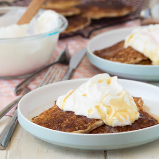 Cornmeal and Spelt Pancakes with Rhubarb Whipped Cream