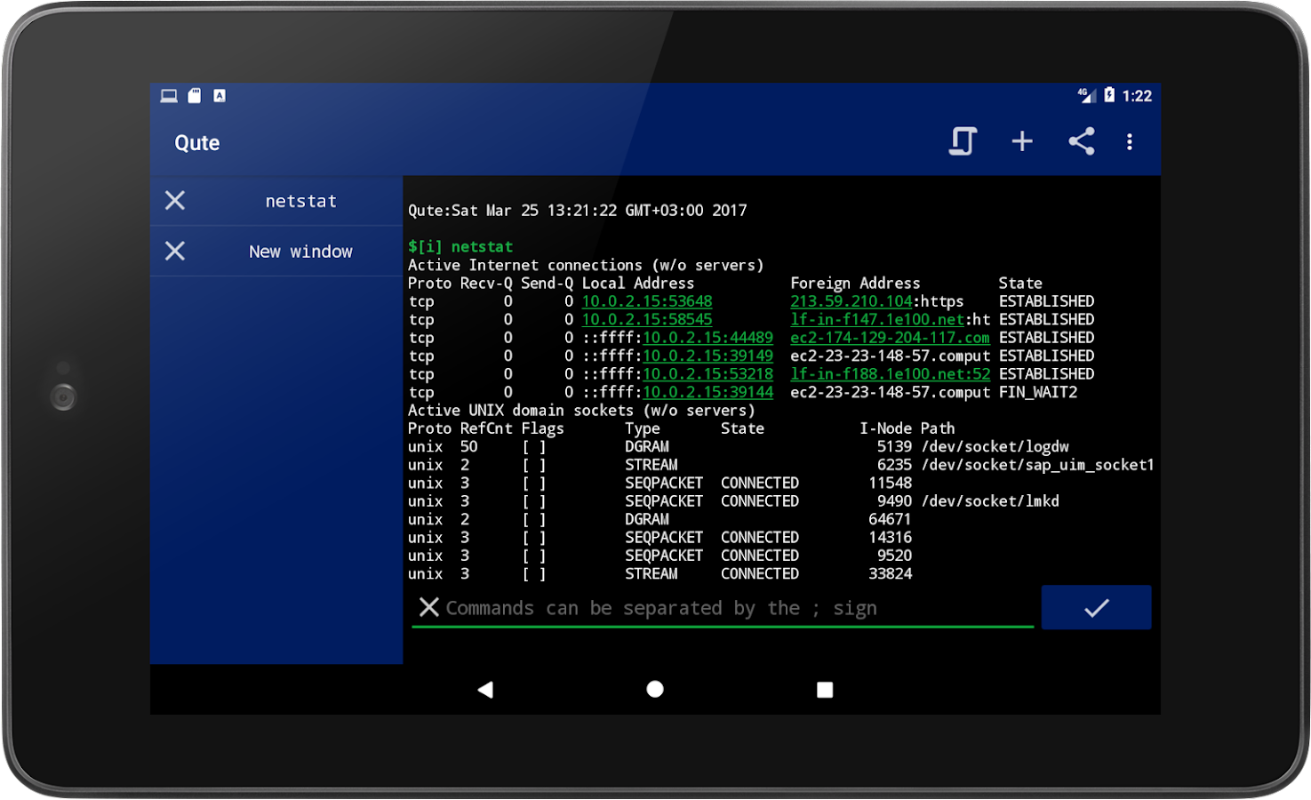 Qute command console terminal emulator android apps on google play - Android console application ...