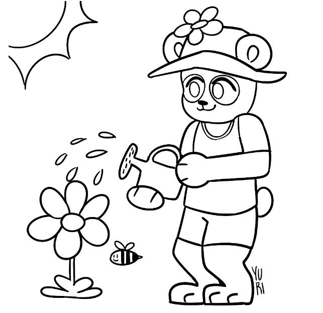 Desenho de panda jardineiro para colorir