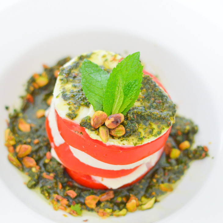 Mint + Pistachio Pesto | Stacked Caprese Salad Recipe | Yummly