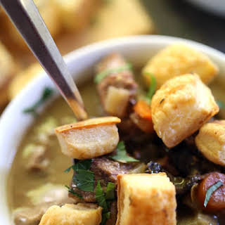 Slow Cooker Beef and Guinness Pot Pie Soup with Thyme Puff Pastry Croutons.