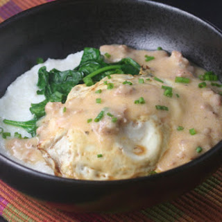 Cheesy Grits with a Fried Egg, Spinach and Andouille Sausage Gravy