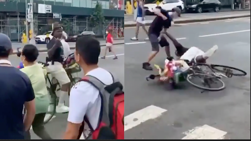Man Shouts Slurs at Chinese Pedestrians, Discovers 'Stop Asian Hate' While He's Eating Fists