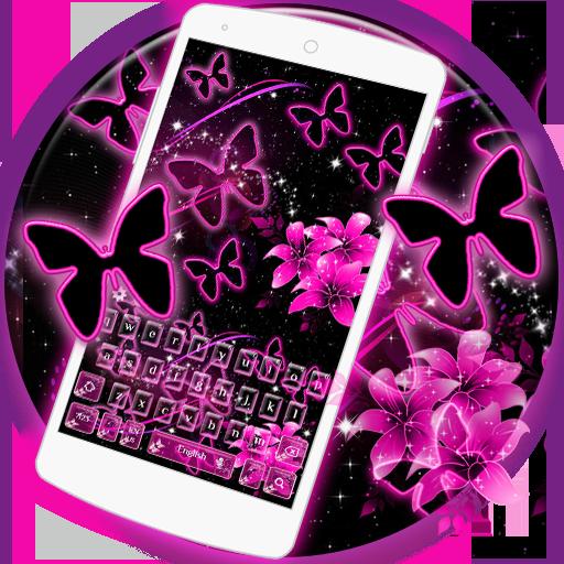Neon Butterflies Keyboard Theme