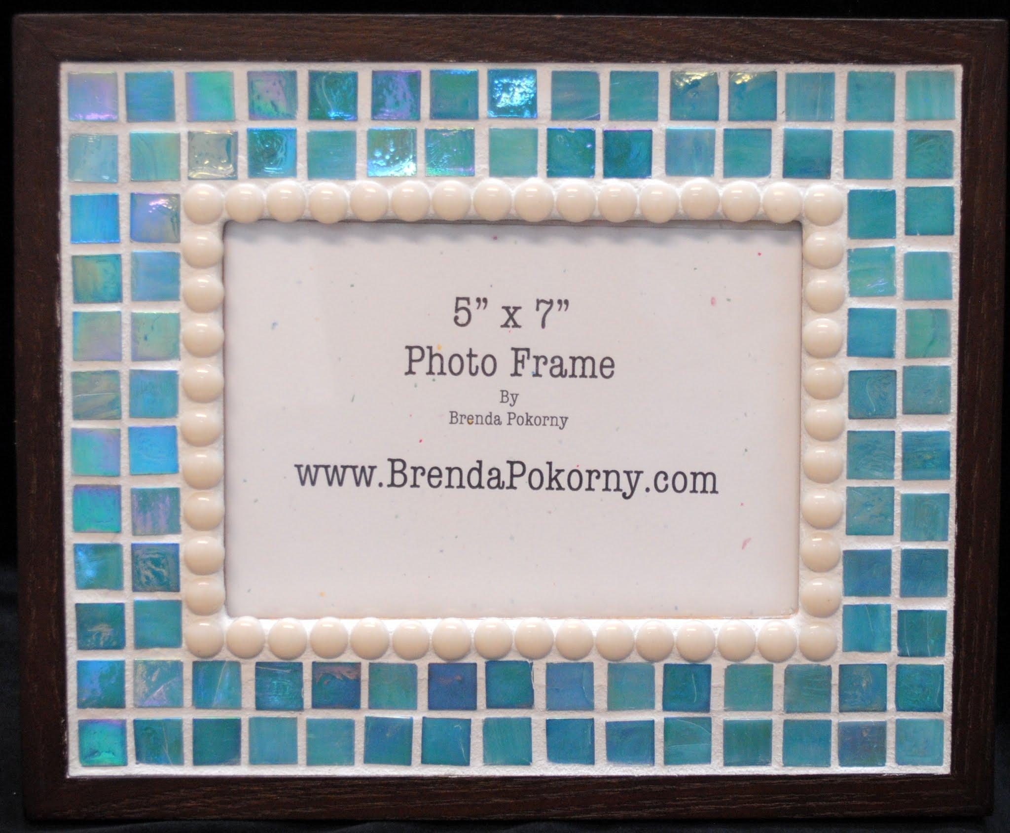 "Softest Aqua Mosaic Frame for 5"" x 7"" Photo MOF1028"