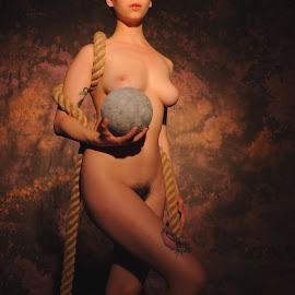 by DJ Cockburn - Nudes & Boudoir Artistic Nude ( studio, standing, hessian, tattoo, woman, art nude, cannon ball, rope, model, estrany, nude,  )