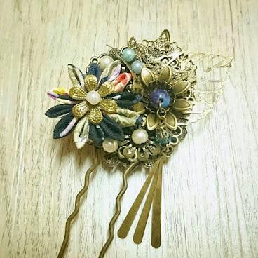 藍花蝴蝶髮釵