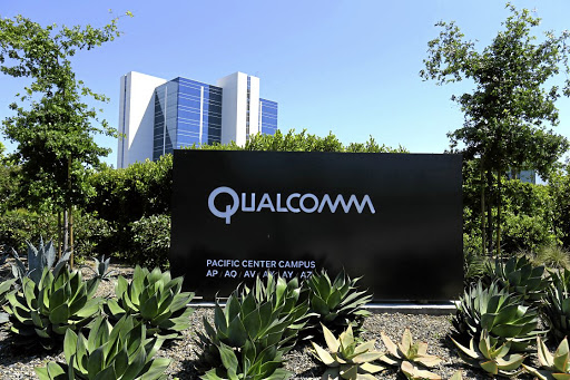 A Qualcomm sign is pictured at one of its many campus buildings in San Diego, California, on April 18 2017. Picture: REUTERS/MIKE BLAKE/FILE PHOTO