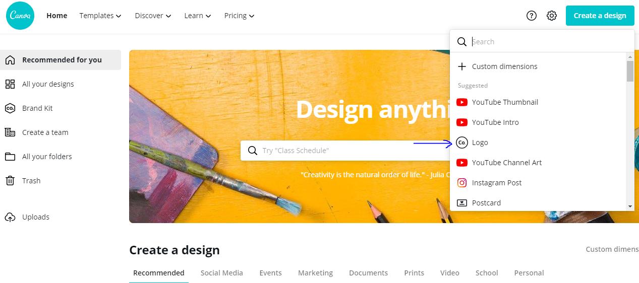 how to create business logo on canva.com