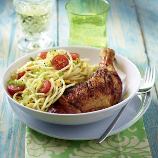 Whiskey and Maple Grilled Chicken with Summery Spaghetti.