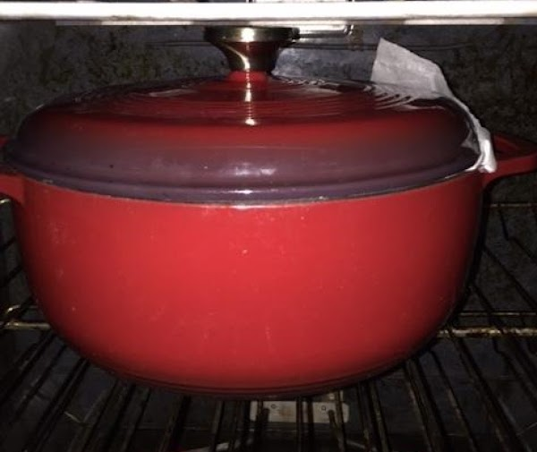 About 90 minutes into the wait, put your dutch oven with the oven-proof lid...