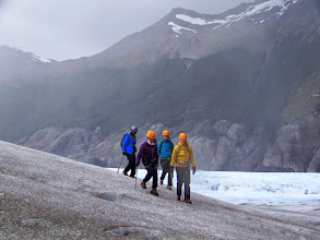 Photo: Rashmi, Jane, Jamie and Judy make their way across Grey Glacier