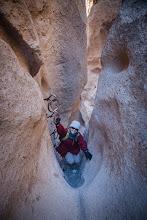 Photo: Hiking a slot canyon in Mojave National Preserve, California.