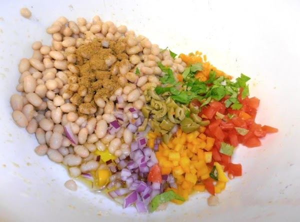 in a mixing bowl, combine all the salad ingredients. mix well. chill for at...