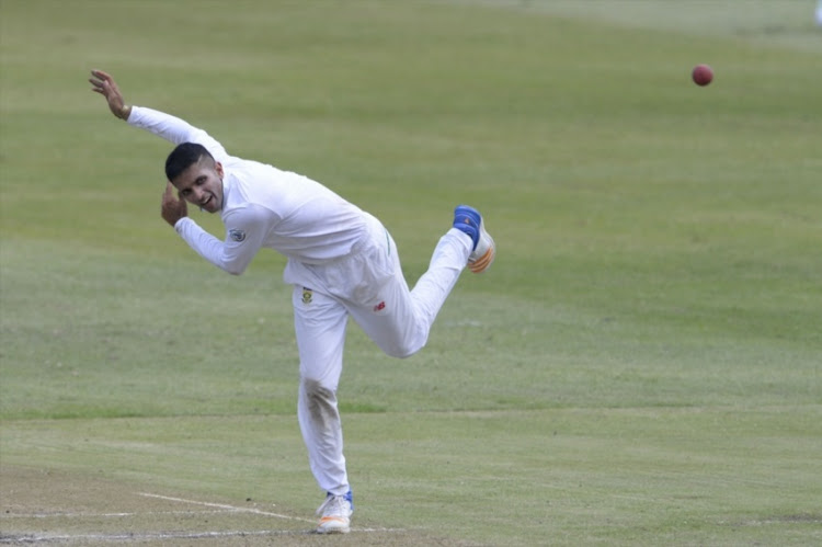 Keshav Maharaj of the Proteas during day 1 of the 1st Sunfoil Test match between South Africa and Australia at Sahara Stadium Kingsmead on March 01, 2018 in Durban.