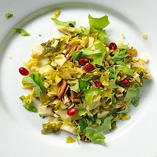 Brussels Sprout, Baby Lettuce Pomegranate Salad.