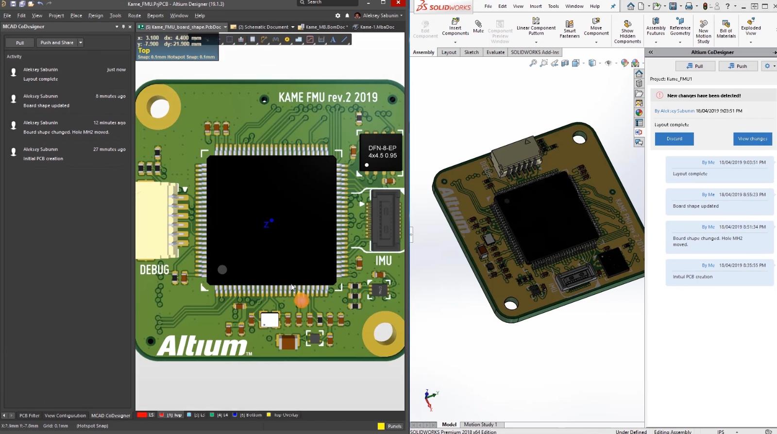 Co-conceptions CAO électronique/ mécanique avec tests fonctionnels de PCB dans Altium Concord Pro