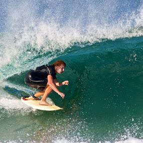 Green barrel by Julie Steele - Sports & Fitness Surfing ( surfer, steele, wave, barrel )