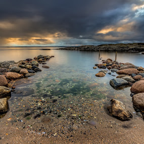 Two sticks by Bent Velling - Landscapes Waterscapes ( water, clouds, ef17-40l, canon 6d, hoya nd64, benro, color, sticks, moss, lee 0.9 hard gnd, rocks, norway )