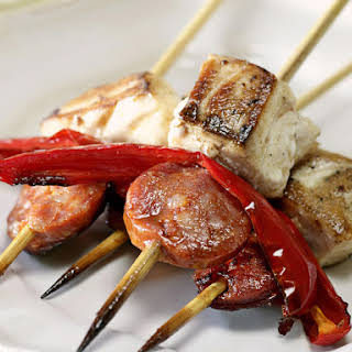 Chorizo and Fish Kebabs.