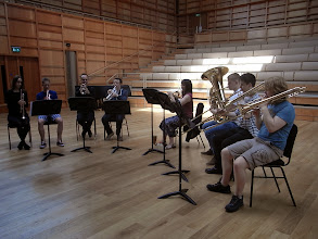 Photo: Members of the brass ensemble rehearsing in the Colyer-Fergusson Hall on the first day of Summer Music week.