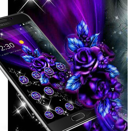 Violet Blue Neon Flower Theme