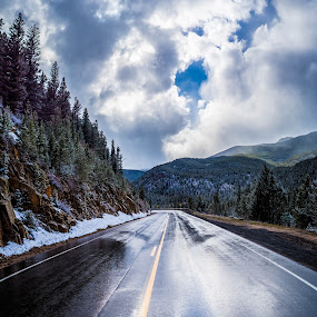 Take the Road Less Traveled by Matt Workman - Landscapes Mountains & Hills ( clouds, reflection, highway, rocky mountains, colorado, road, landscape, spring, mountains, winter, snow, trees, landscape photography, landscapes )