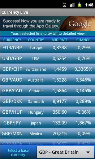 Currency Exchange Rates Live Screenshot 1 2