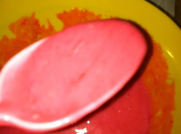 Remove from heat and let cool.  Add a little pink or red food...
