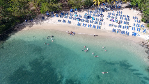 drone-beach-bbq.jpg - The semi-secluded cove on Pigeon Island, St. Lucia, where Windstar set up a beach barbecue.