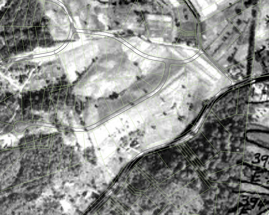Photo: 1938 Aerial Photo with pavement and parcel overlay