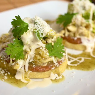 Sopes de Pollo con Frijoles (Chicken Sopes With Beans).