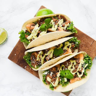 Spicy Chorizo Tacos with Mushrooms and Avocado Crema